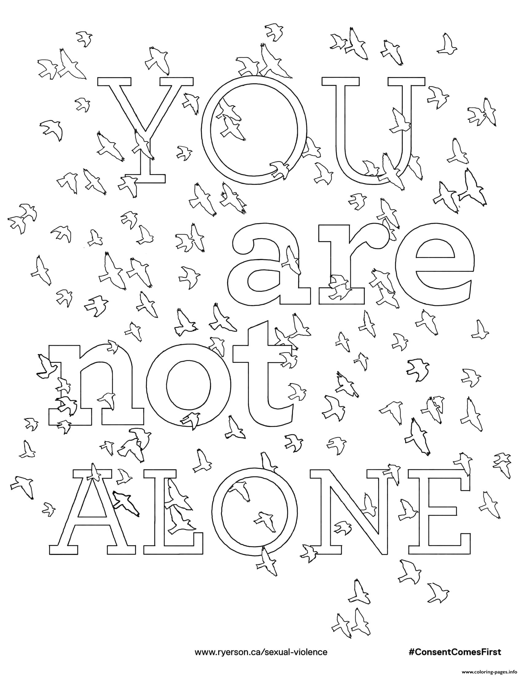 You Are Not Alone Coloring Pages Printable