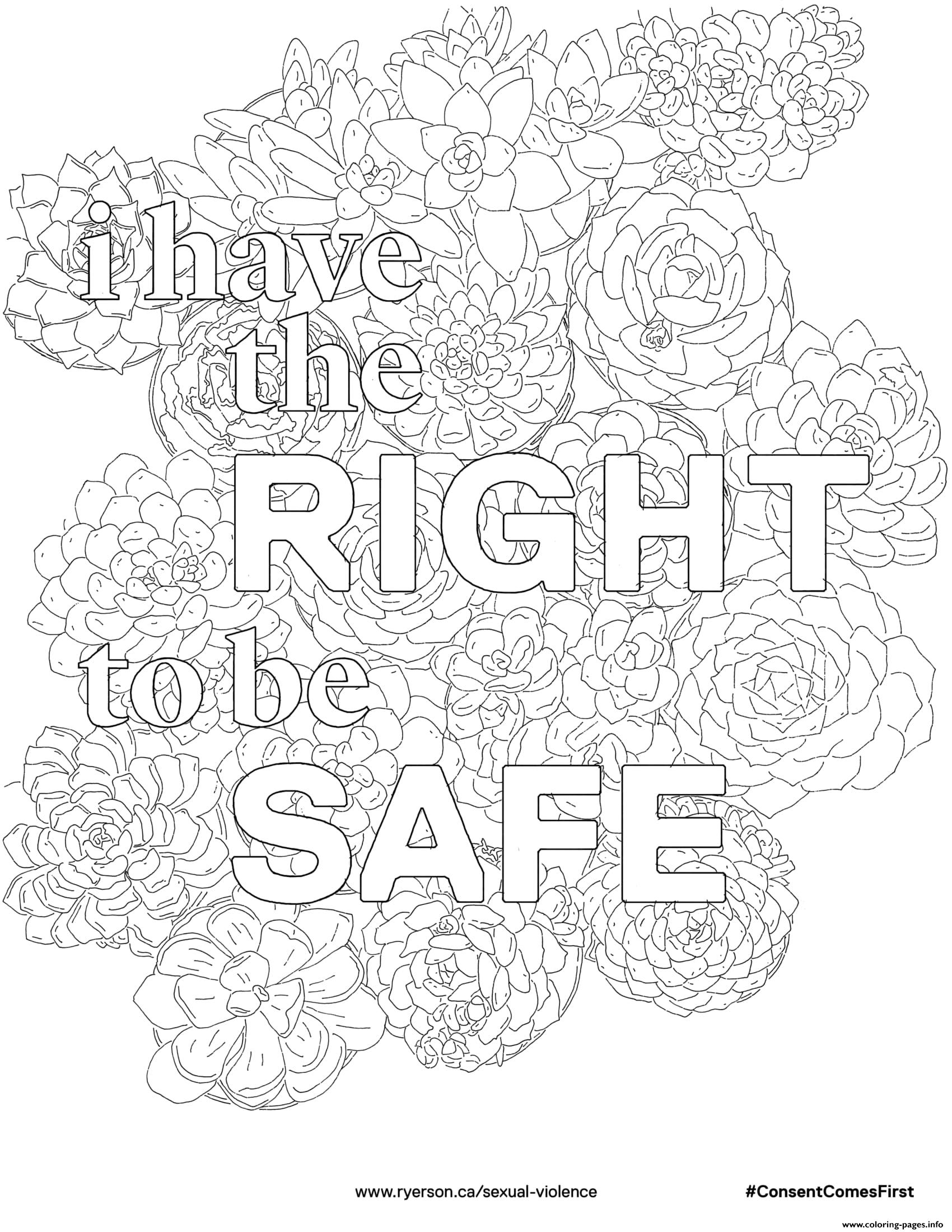 I Have The Right To Be Safe Coloring Pages Printable