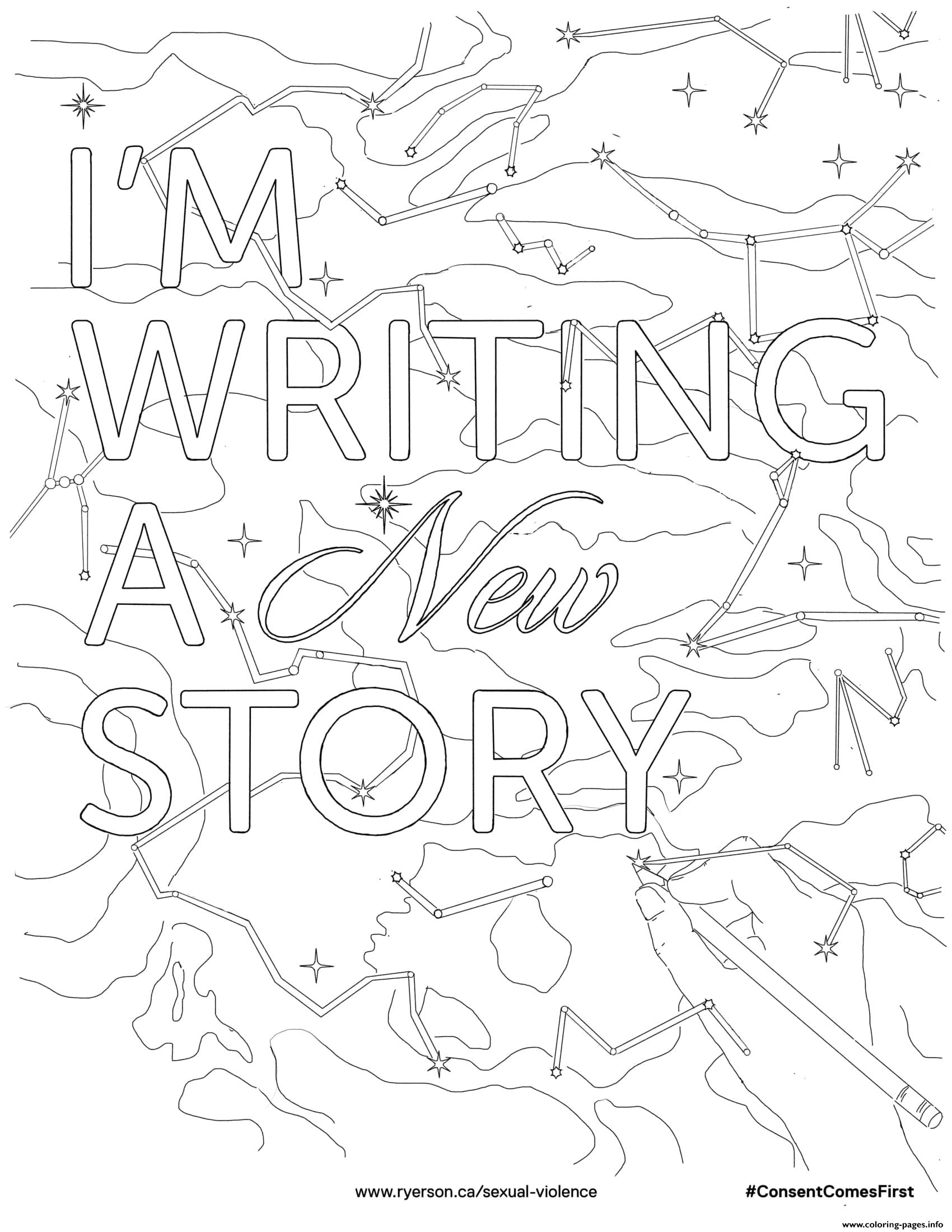 Im Writing A New Story Coloring Pages Printable