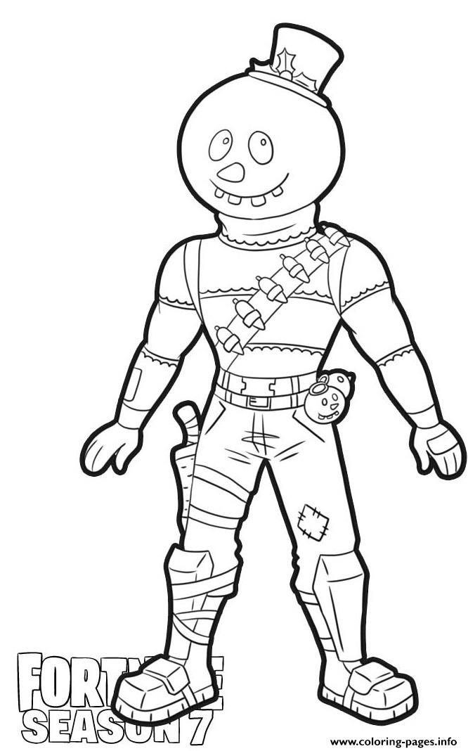 Slushy Soldier Skin From Fortnite Season 7 Coloring Pages