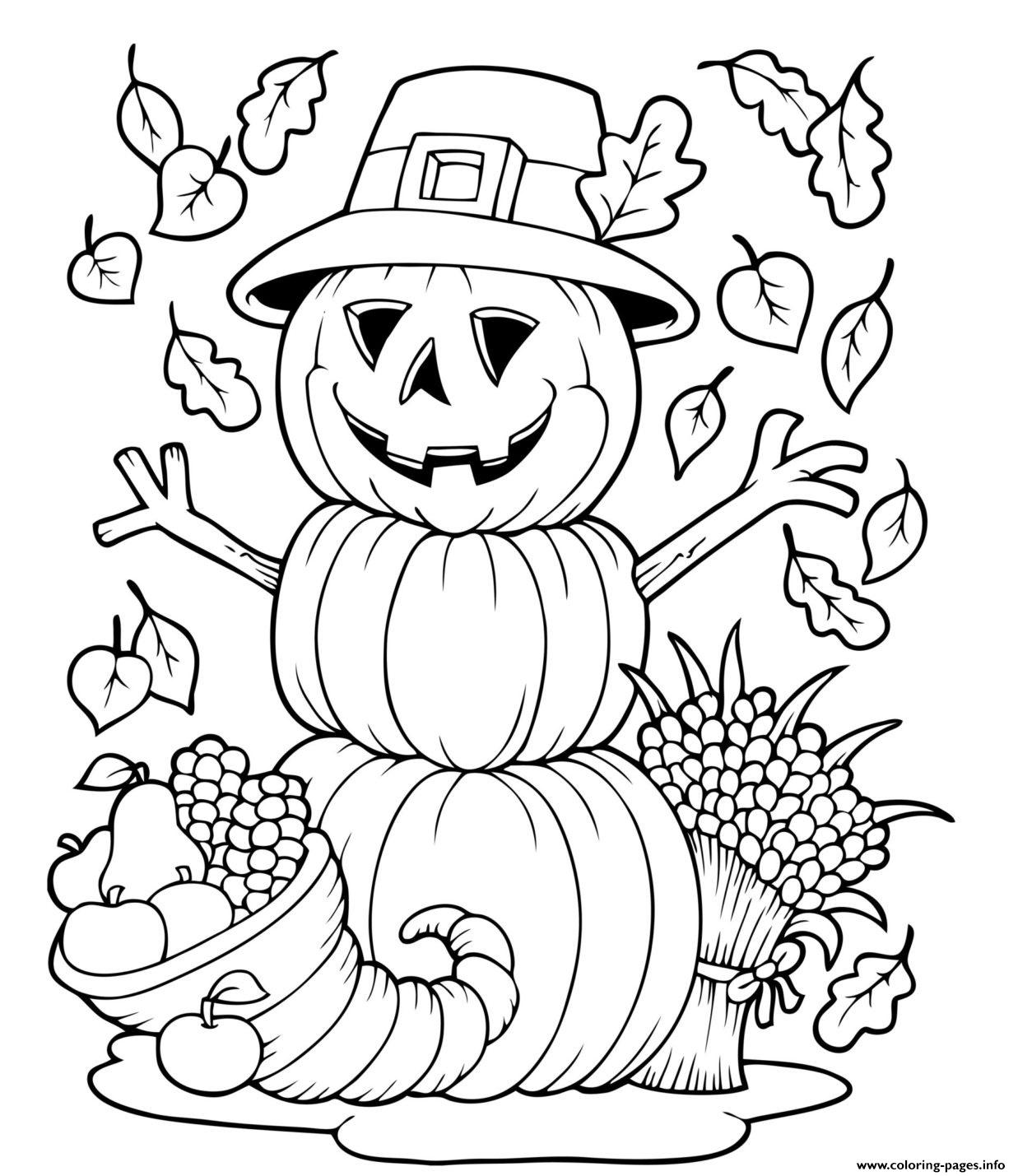 Pumpkin Fall Halloween Funny Coloring Pages Printable
