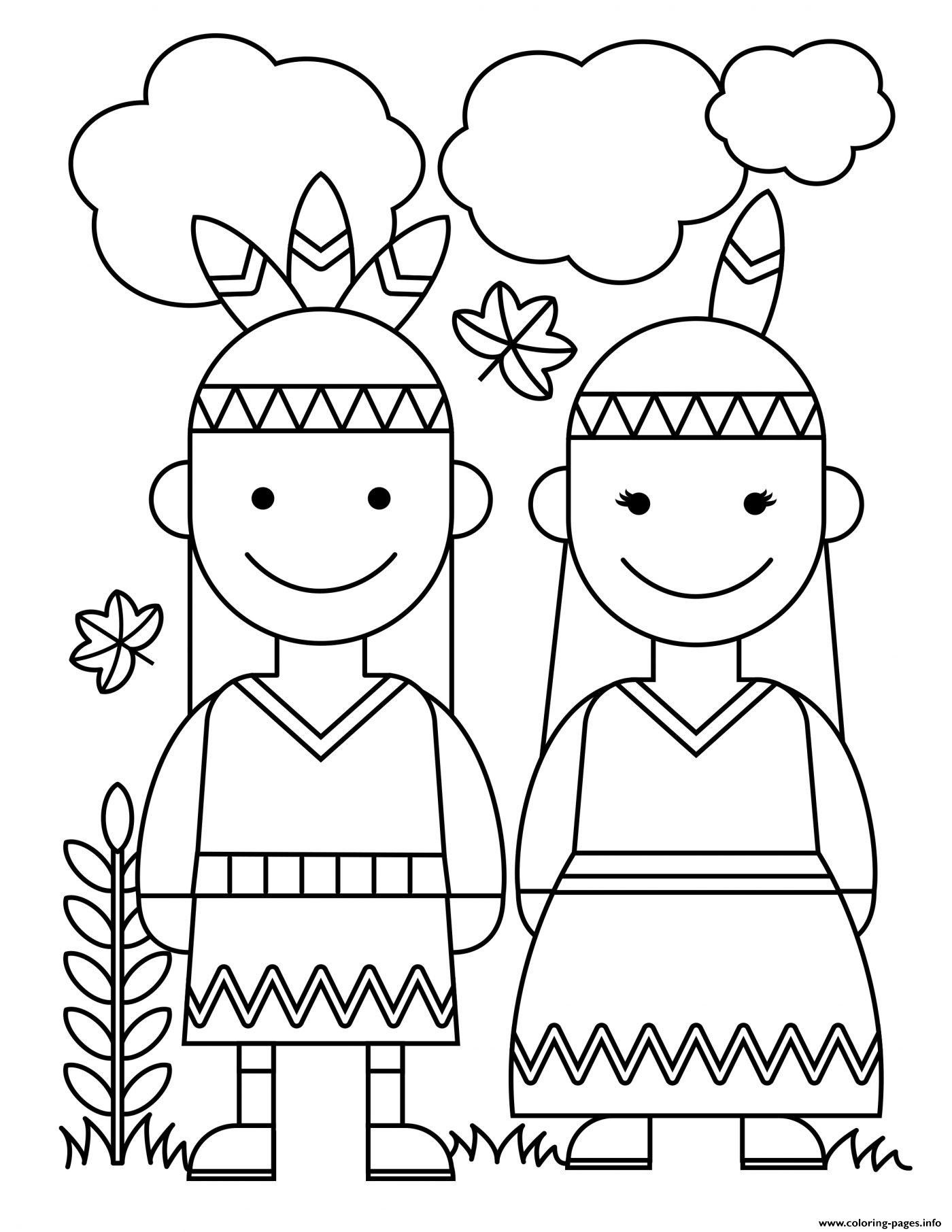 Thanksgiving Native American Indians Coloring Pages Printable