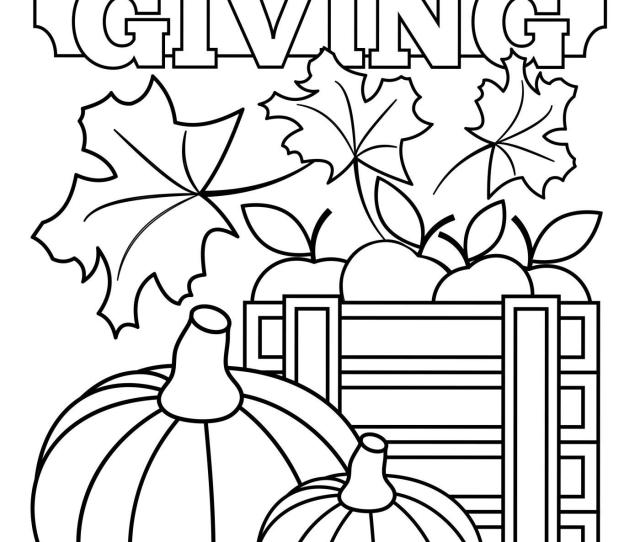 Thanksgiving Leaves And Pumpkins Coloring Pages Printable