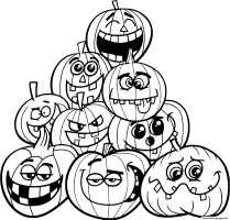 Halloween Pumpkins Emotions Coloring Pages Printable