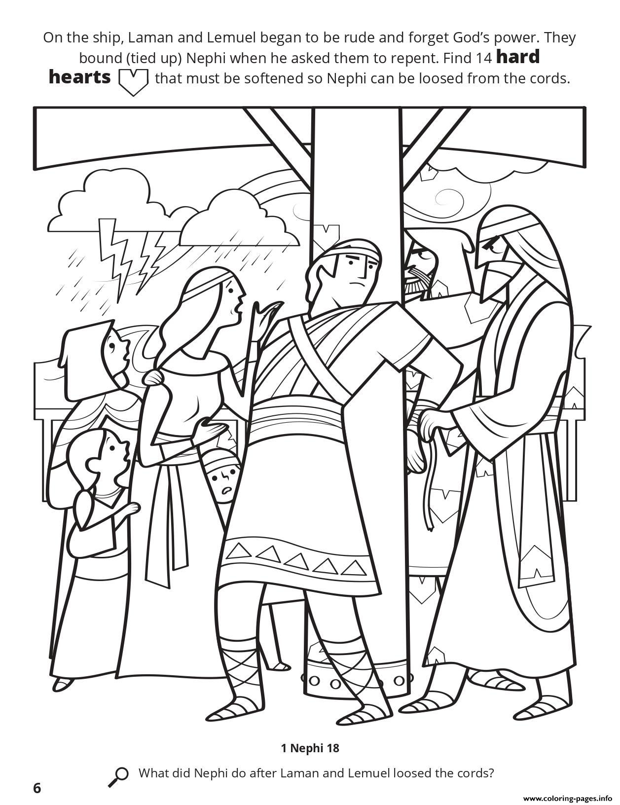 Nephi Coloring Page : nephi, coloring, Hearts, Nephi, Loosed, Cords, Coloring, Pages, Printable