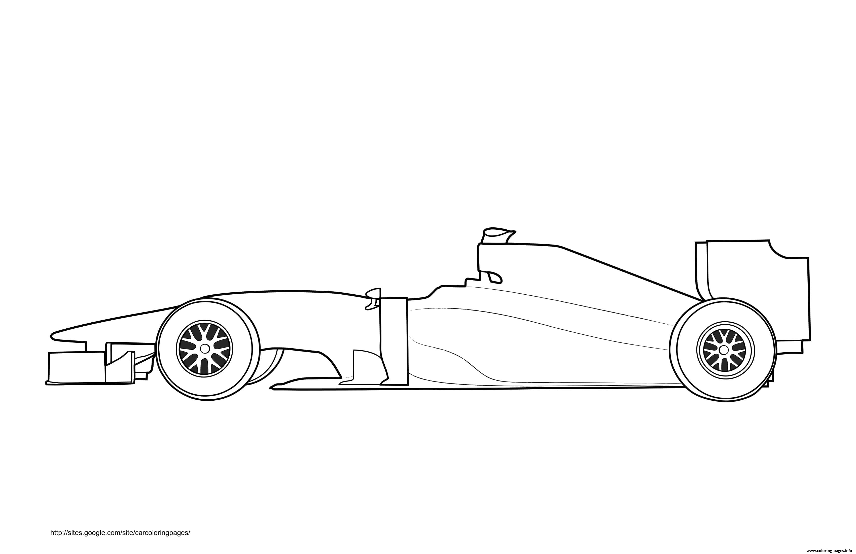 F1 Car White Label Coloring Pages Printable