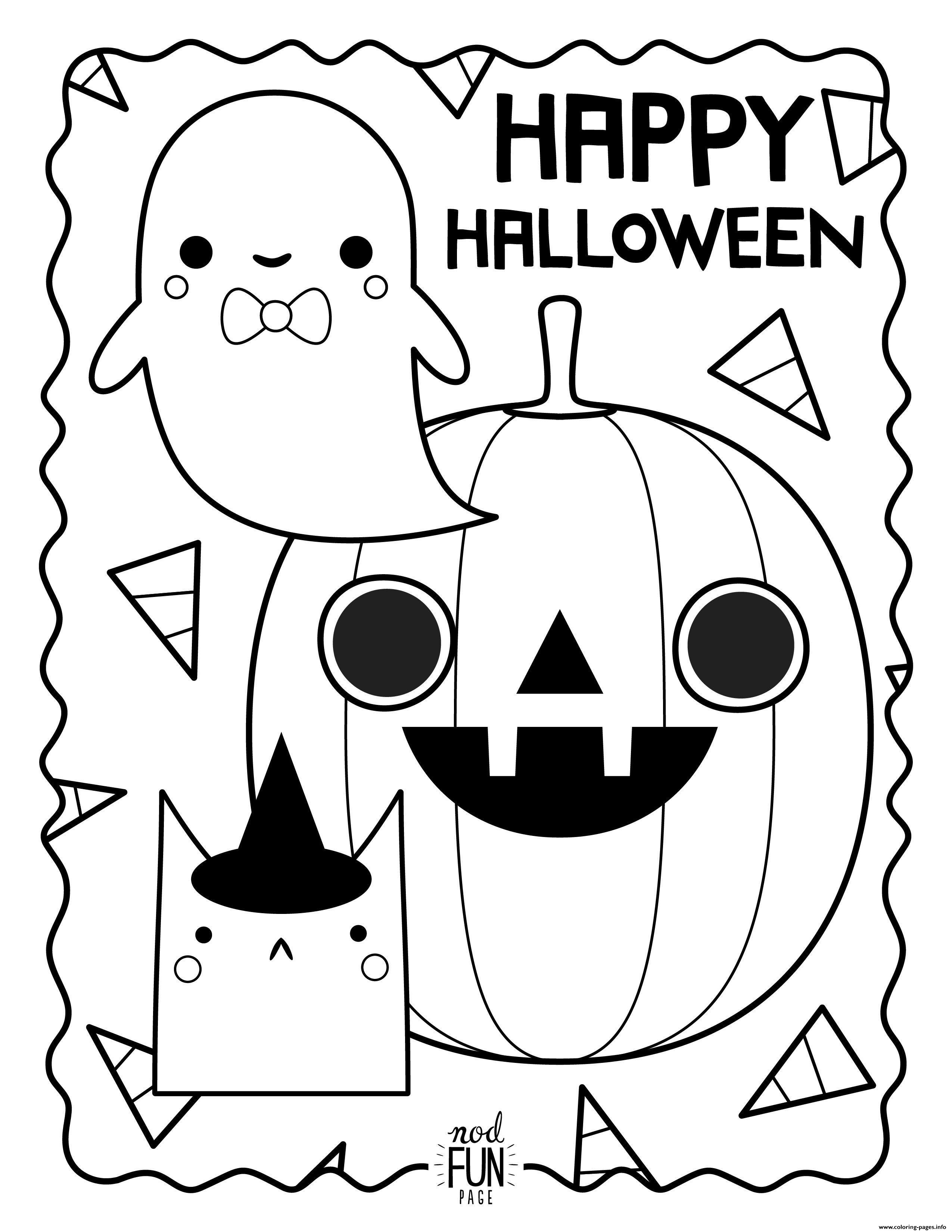 Happy Halloween Ghost Pumpkin Car Coloring Pages Printable