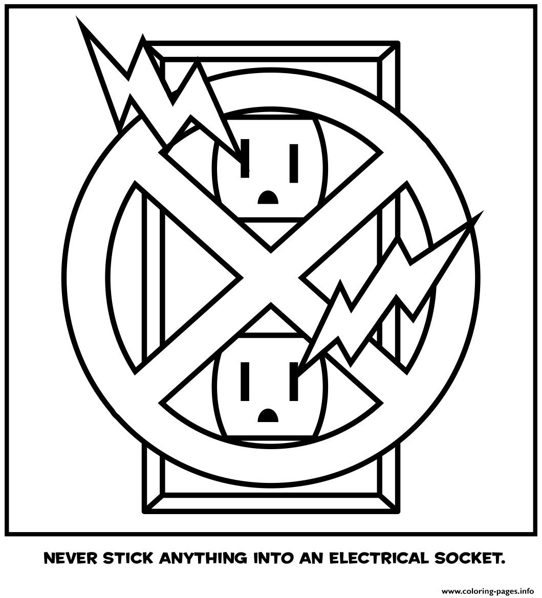 Never Stick Anything Into An Electrical Socket Coloring