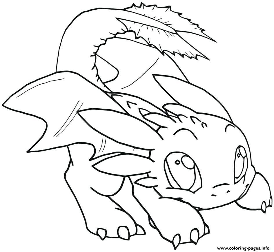 Night Fury Cute Dragon Coloring Pages Novocom Top