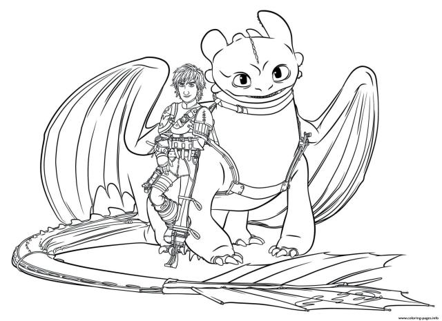 Hiccup And Toothless Dragon Coloring Pages Printable