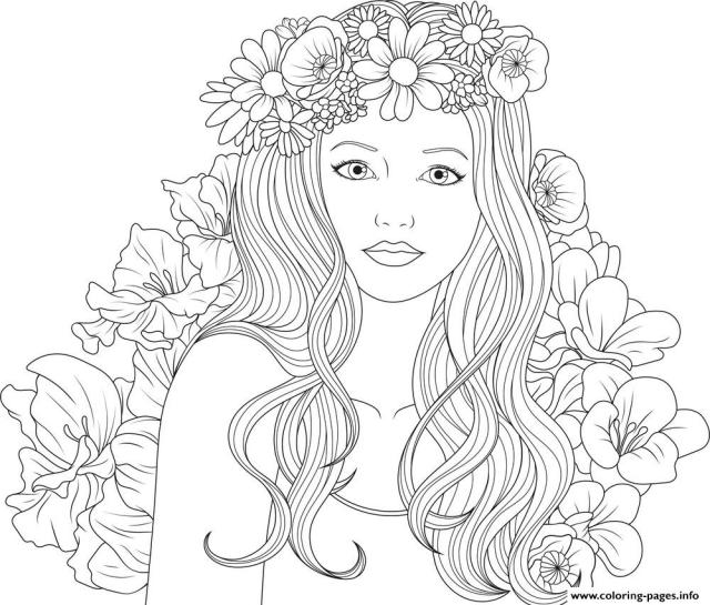 Cute Girls Adult With Flowers Coloring Pages Printable
