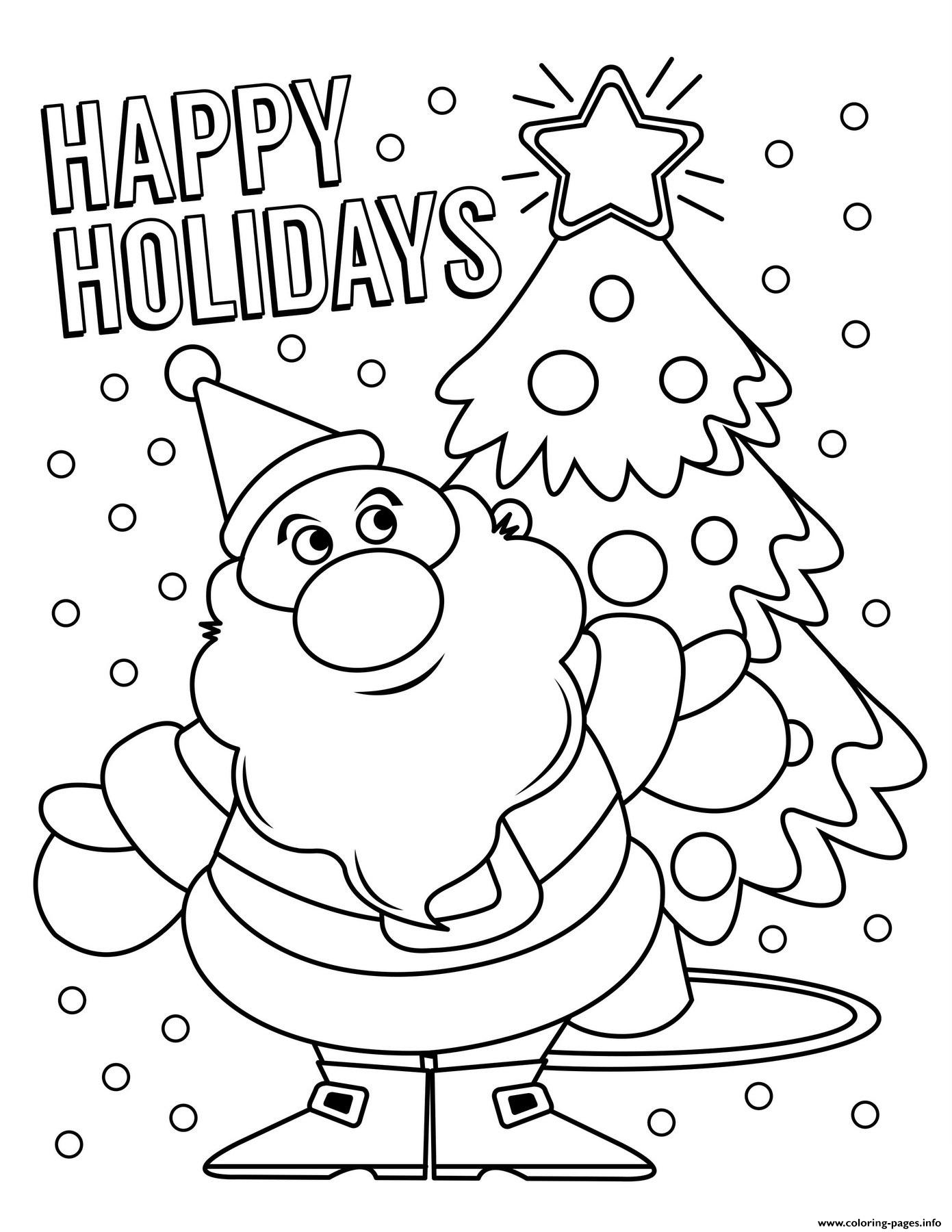 Happy Holidays Santa Claus Coloring Pages Printable