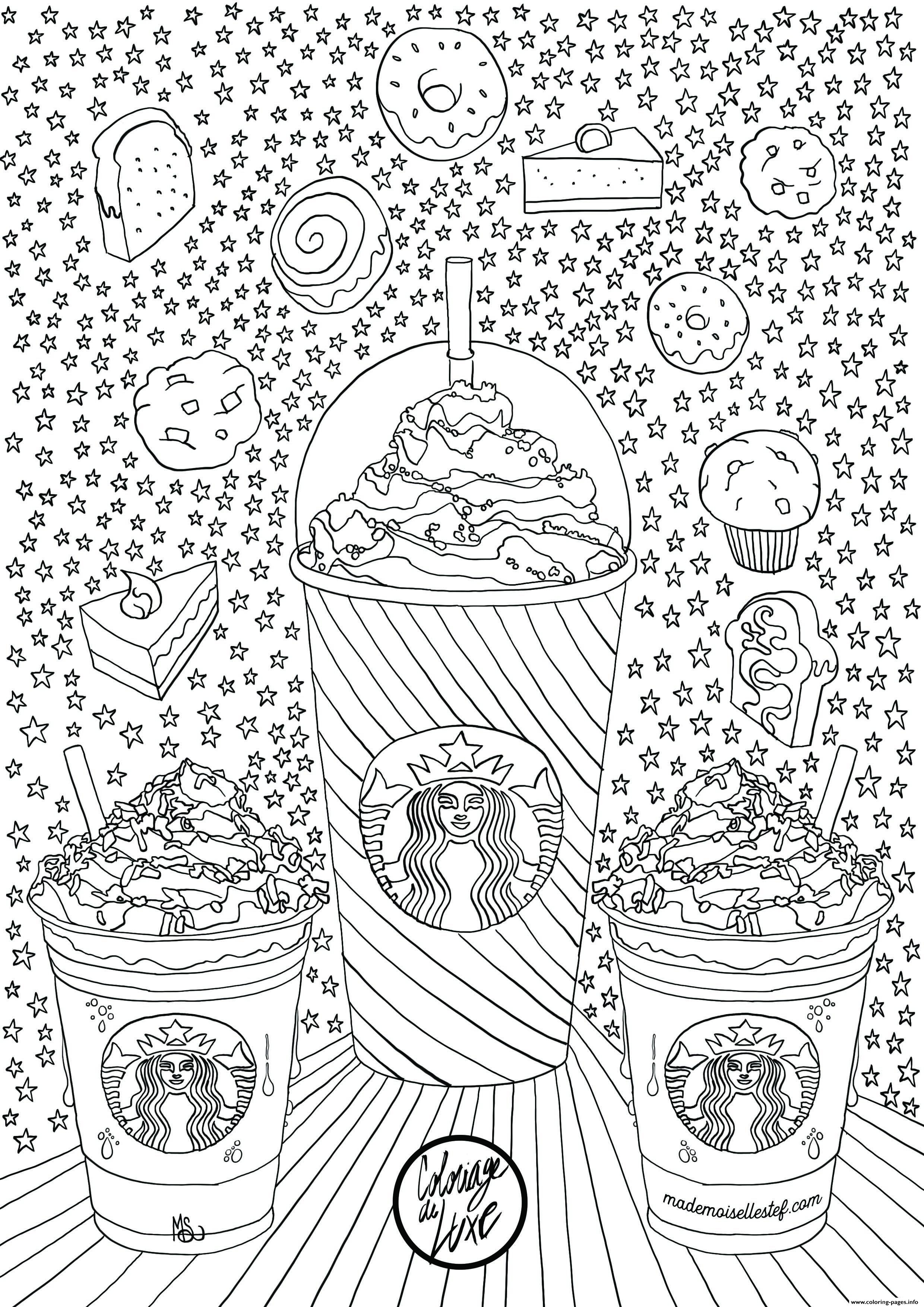 Starbucks Frappuccino Cakes Donuts Adults Coloring Pages