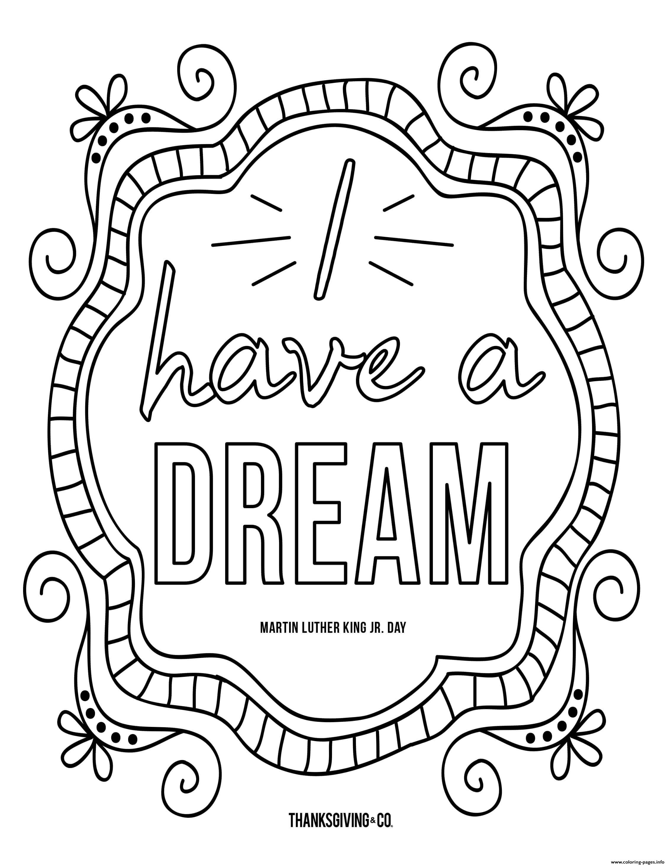 Mlk Jr I Have A Dream Doodle Coloring Pages Printable