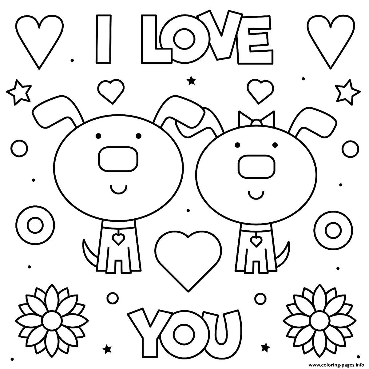Valentines Day I Love You Cute Dogs Coloring Pages Printable
