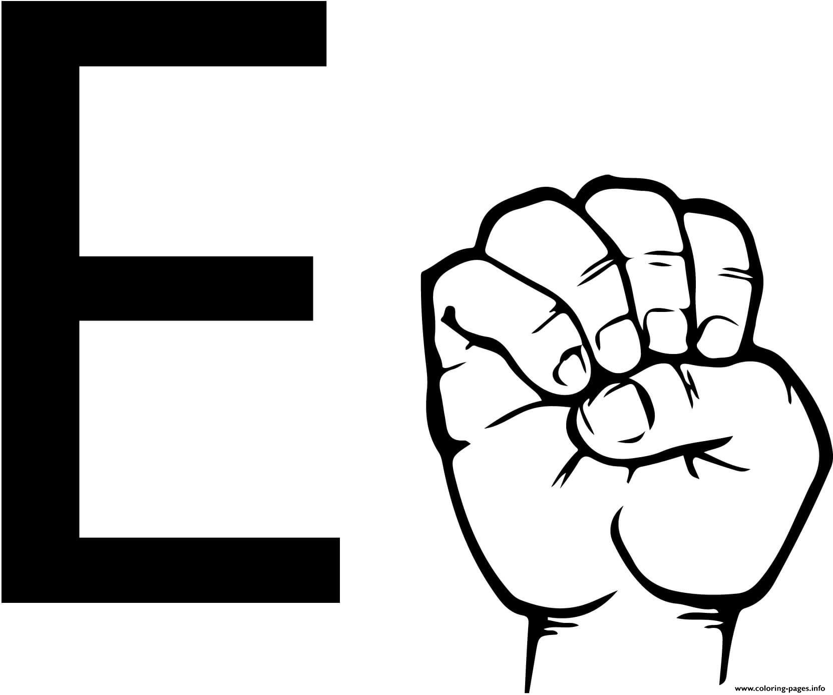 Asl Sign Language Letter E Coloring Pages Printable