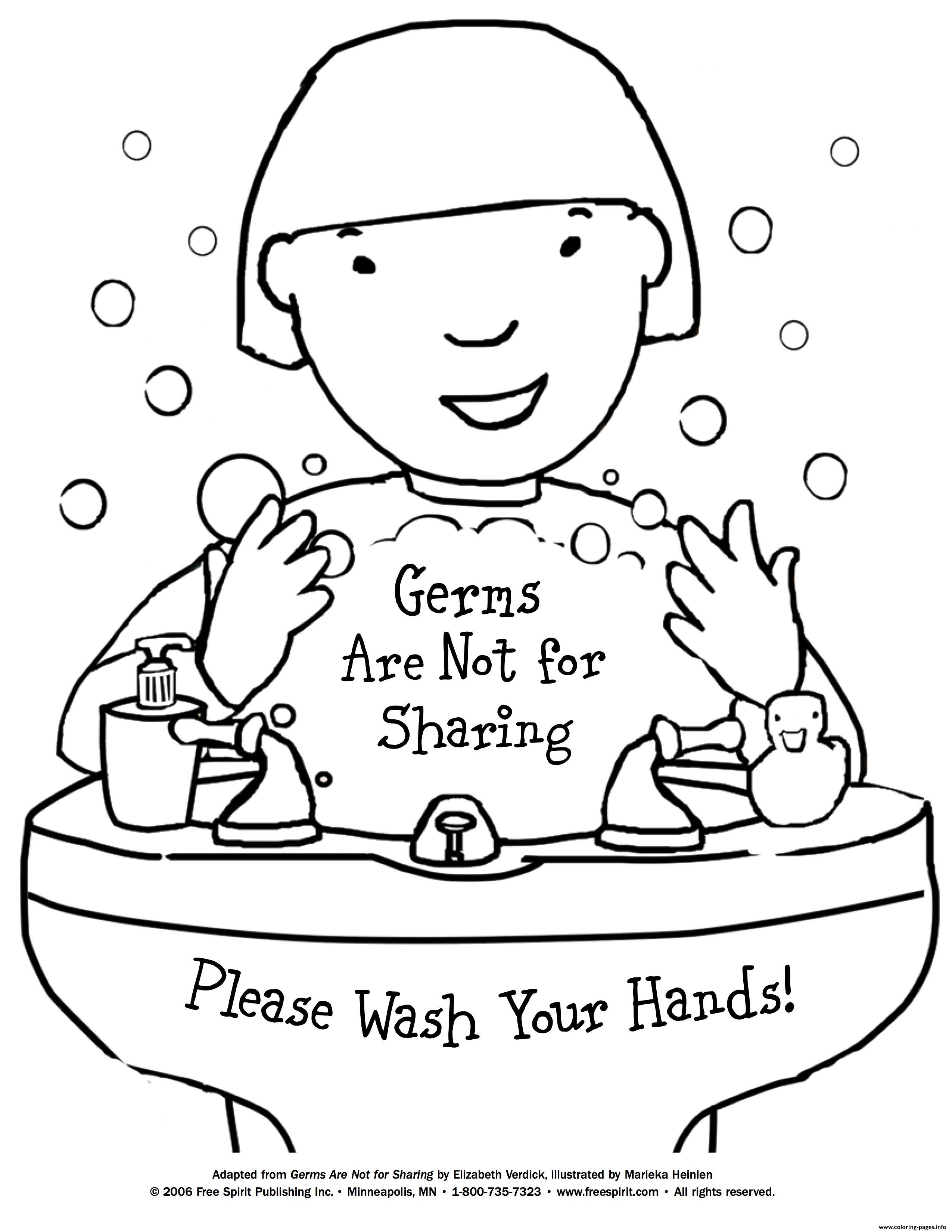 Germs Are Not For Sharing Coloring Pages Printable
