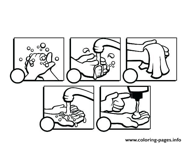Wash Your Hands Steps Coloring Pages Printable