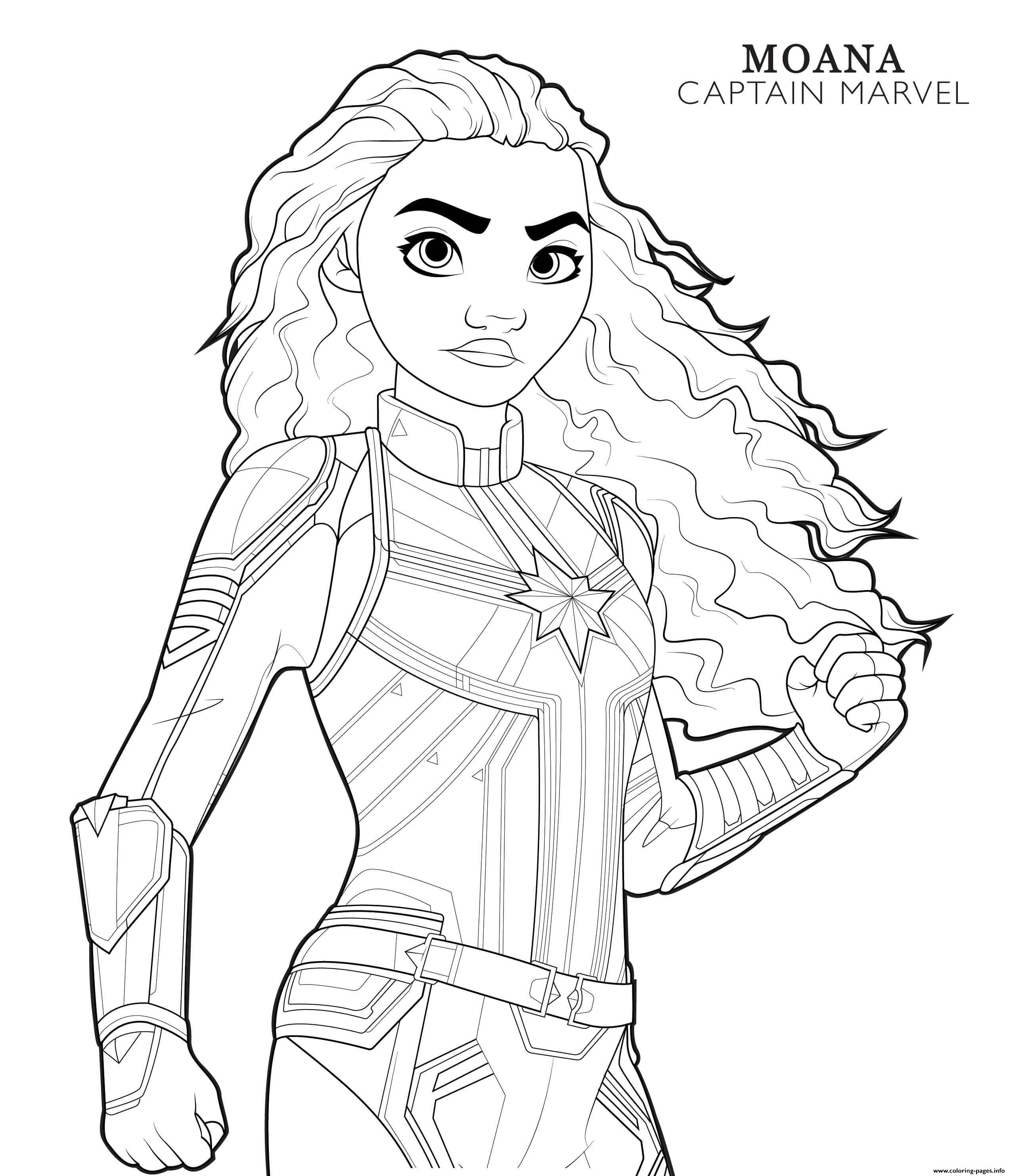 Captain Marvel Moana Disney Avengers Coloring Pages Printable
