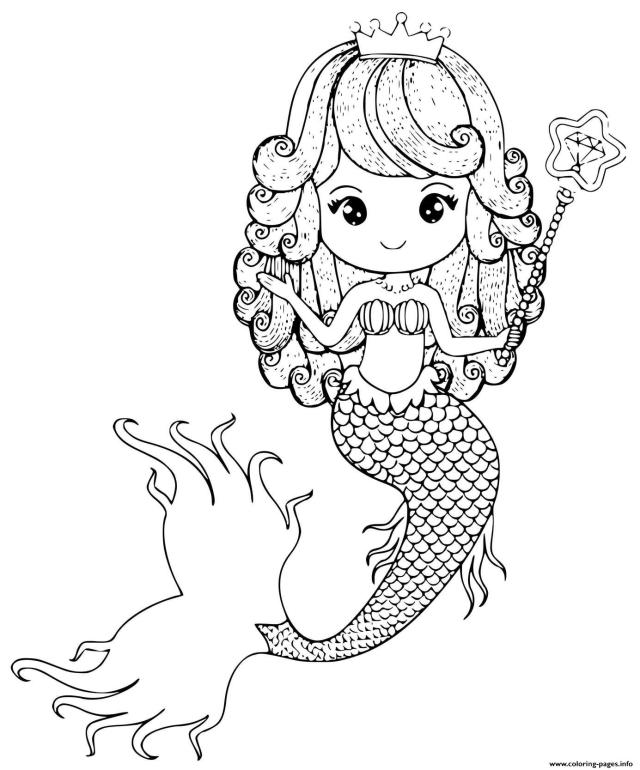 Mermaid Princess With A Wand And Crown Coloring Pages Printable