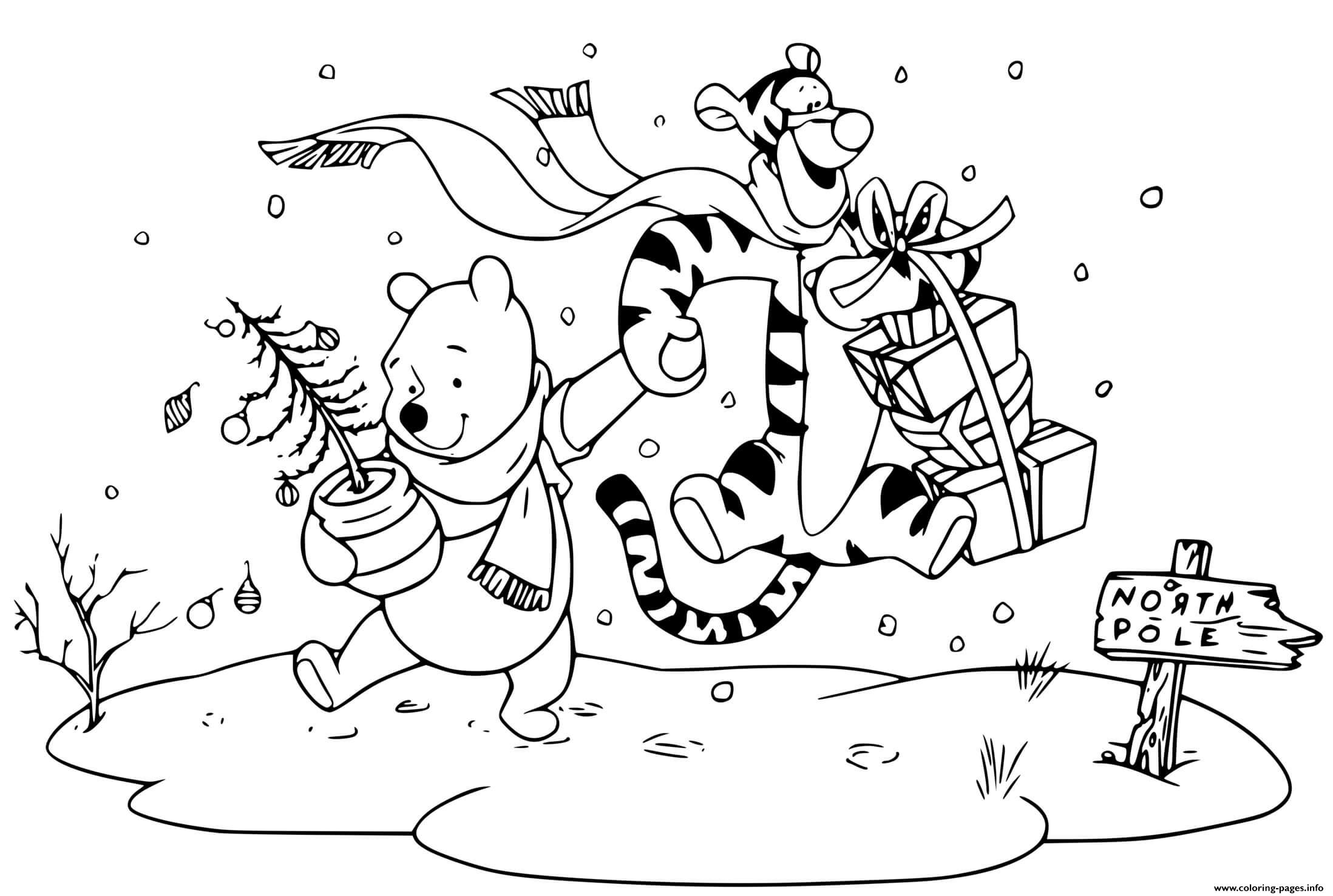 Pooh Tigger Off To The North Pole Coloring Pages Printable