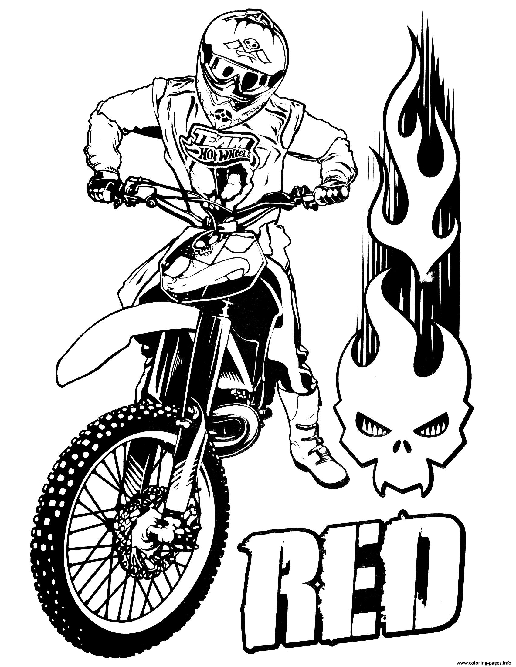 Hot Wheels Moto Cross Coloring Pages Printable