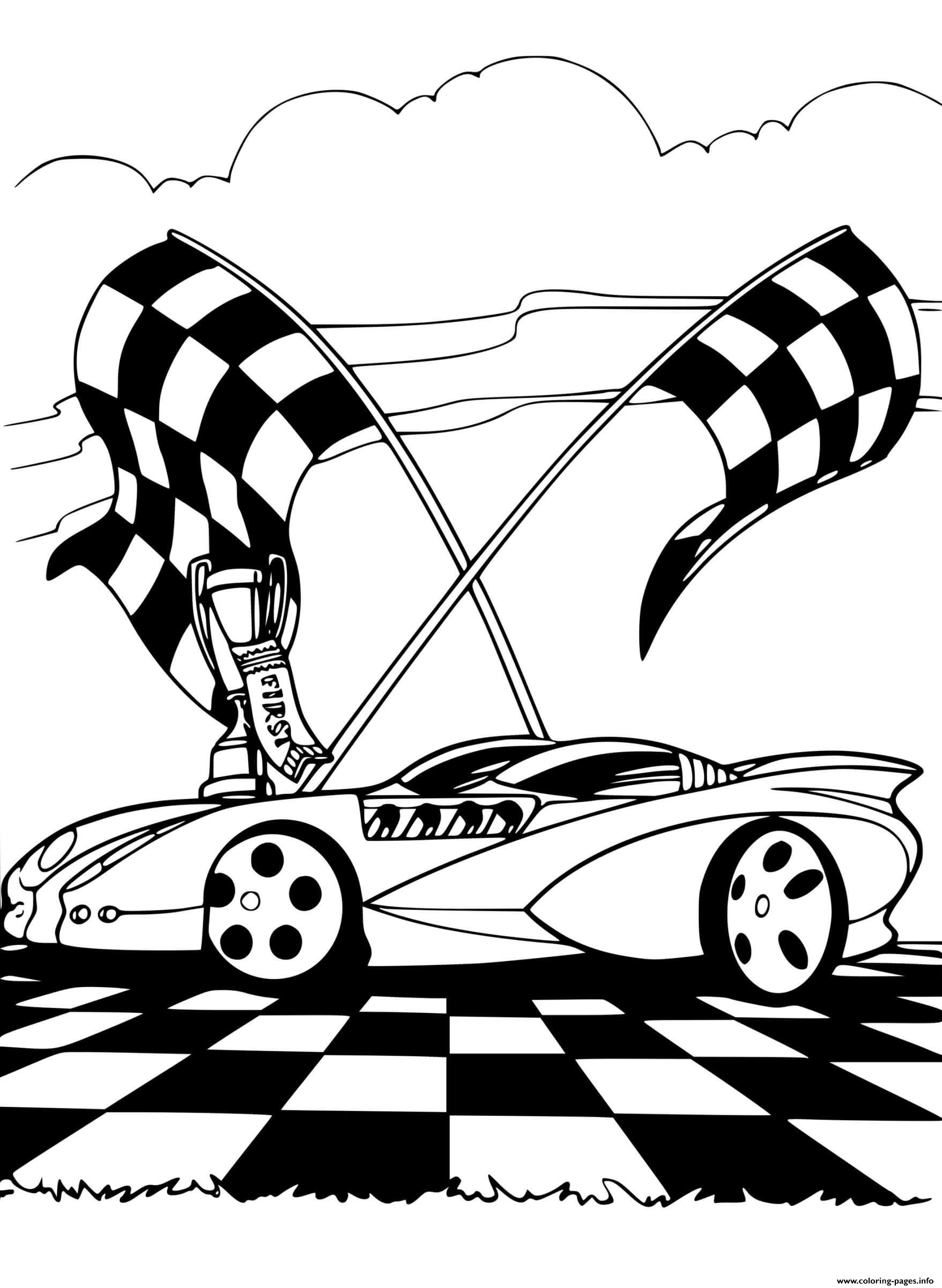 Racing Track Car Coloring Pages Printable