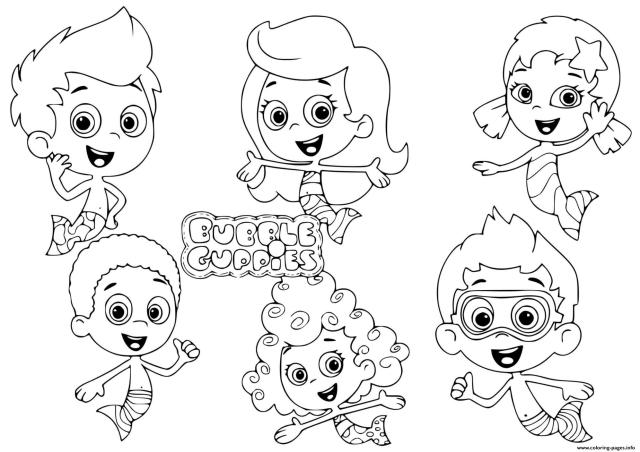 Bubble Guppies Characters Kids Coloring Pages Printable
