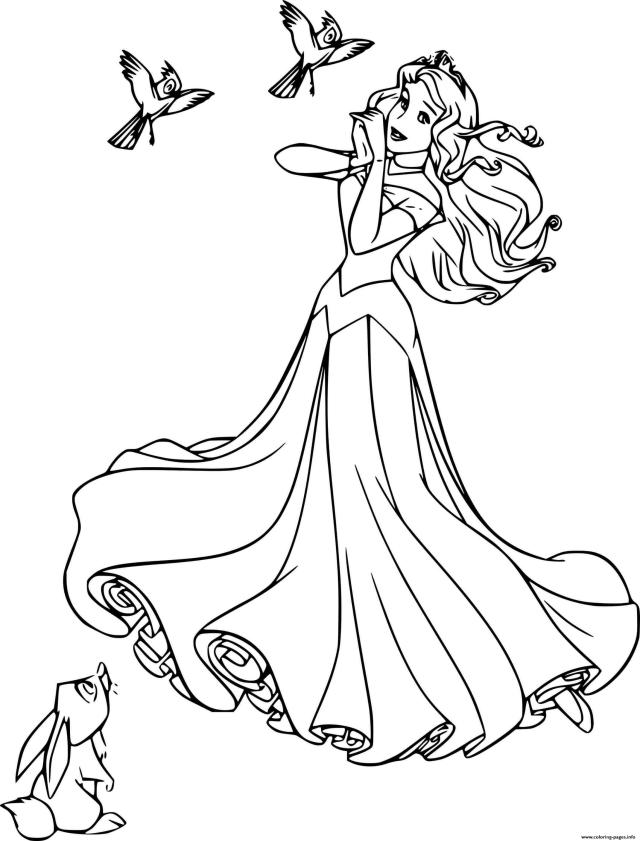 Aurora With Forest Animals Disney Princess Coloring Pages Printable