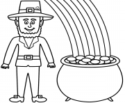 RAINBOW WITH POT OF GOLD Coloring Pages Color Online Free