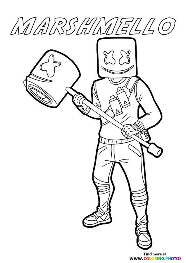 Marshmello with a bat - Fortnite - Coloring Pages for kids
