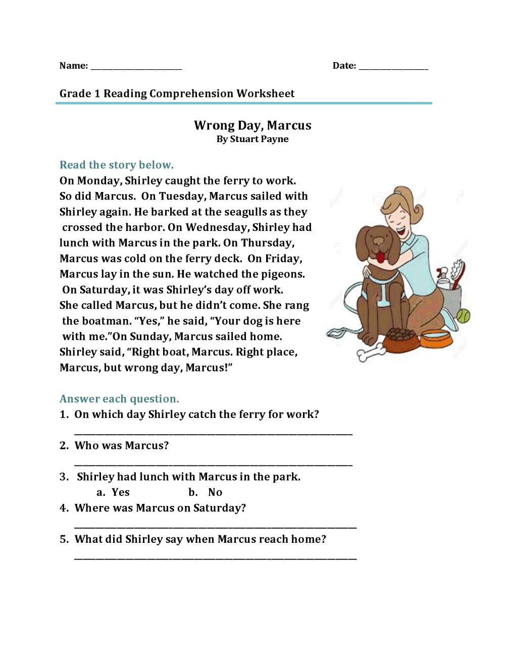 medium resolution of 1st Grade Reading Comprehension Worksheet – coloring.rocks!