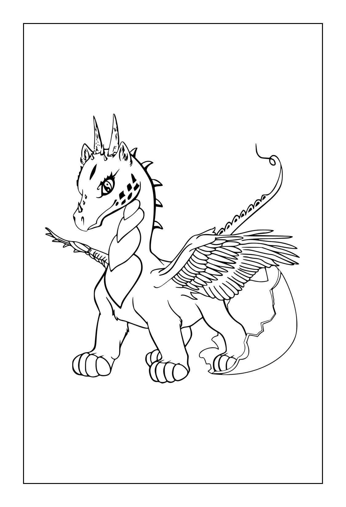 Coloring Page Dragon Baby