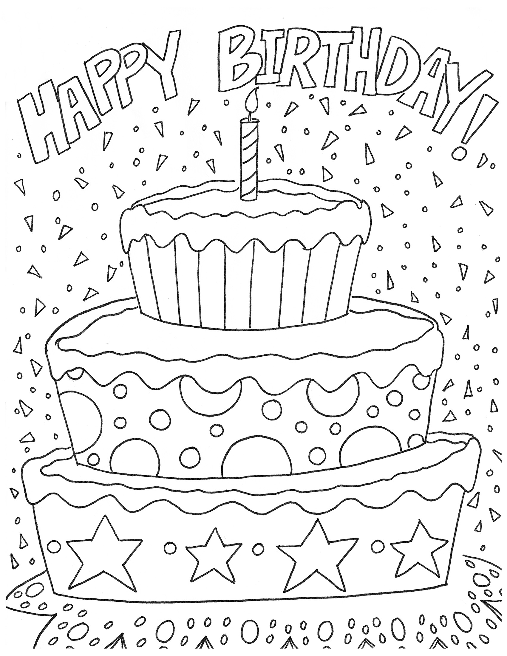 Happy Birthday Coloring Pages Coloringcks