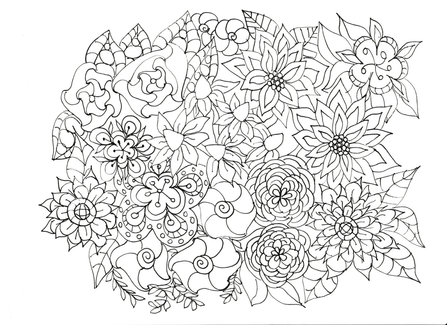 Flower Coloring Pages For Adults Coloringcks