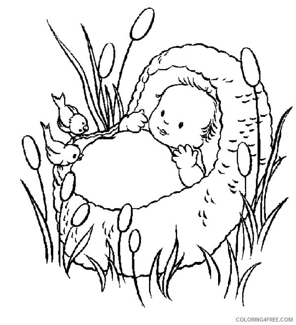Baby Moses Coloring Pages To Print Coloring4free Coloring4free Com