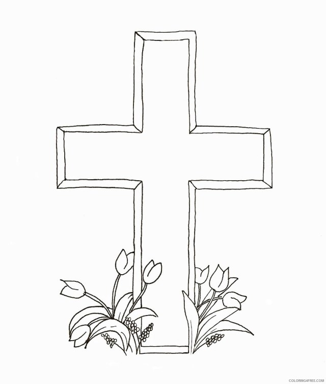 cross coloring pages with tulips Coloring10free - Coloring10Free.com