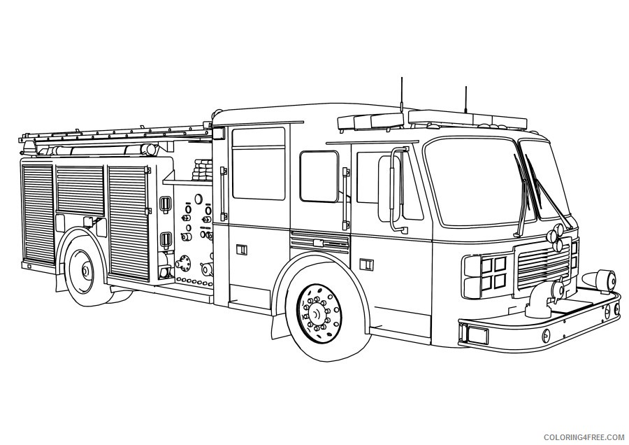 Fire Truck Coloring Pages For Boys Coloring4free Coloring4free Com