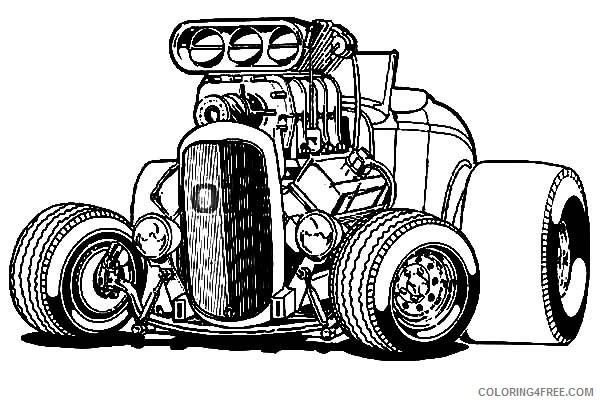 Hot Wheels Coloring Pages Big Hotrod Car Coloring4free Coloring4free Com