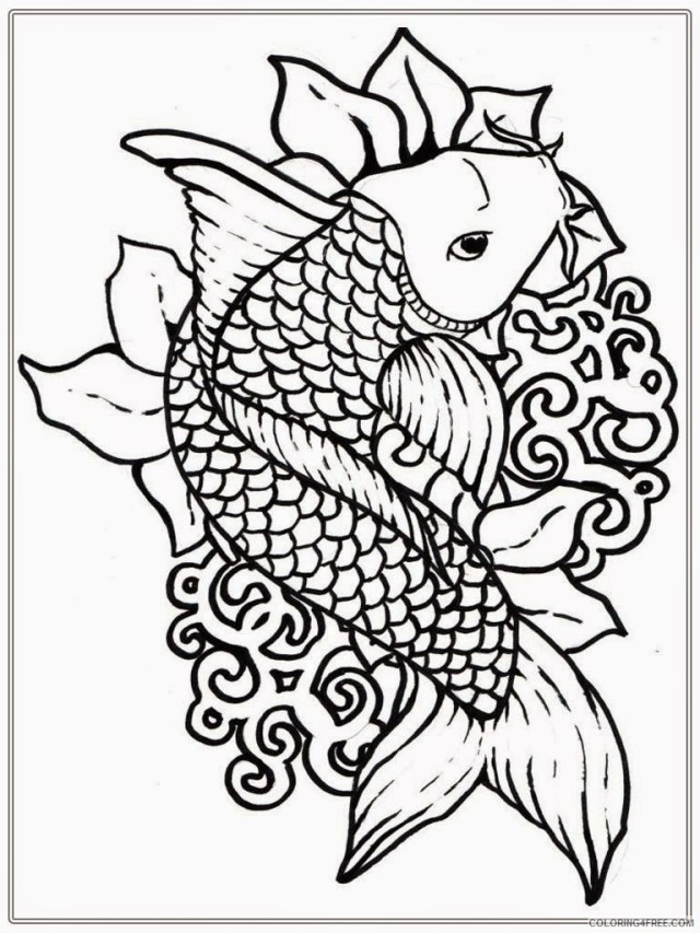 koi fish coloring pages for adults Coloring114free - Coloring114Free.com