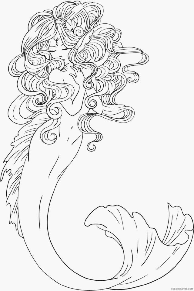 realistic mermaid coloring pages for adults Coloring29free