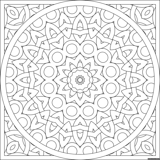 square kaleidoscope coloring pages to print Coloring25free