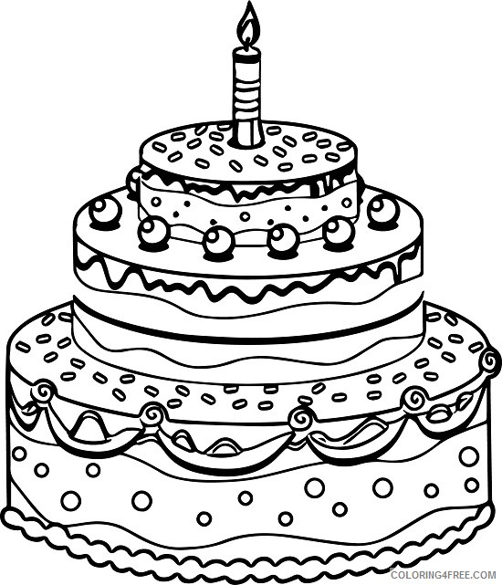 Tiered Birthday Cake Coloring Pages To Print Coloring4free Coloring4free Com