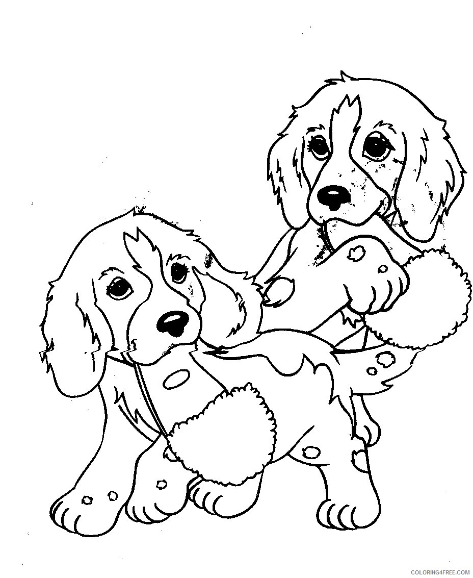 Twin Puppies Coloring Pages Coloring4free Coloring4free Com