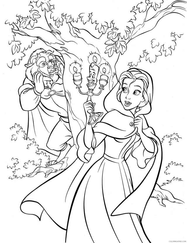 Beauty and the Beast Coloring Pages Cartoons Free Disney Beauty