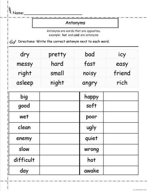 small resolution of 2nd Grade Coloring Pages Educational English Worksheets Antonyms 2020 0119  Coloring4free - Coloring4Free.com