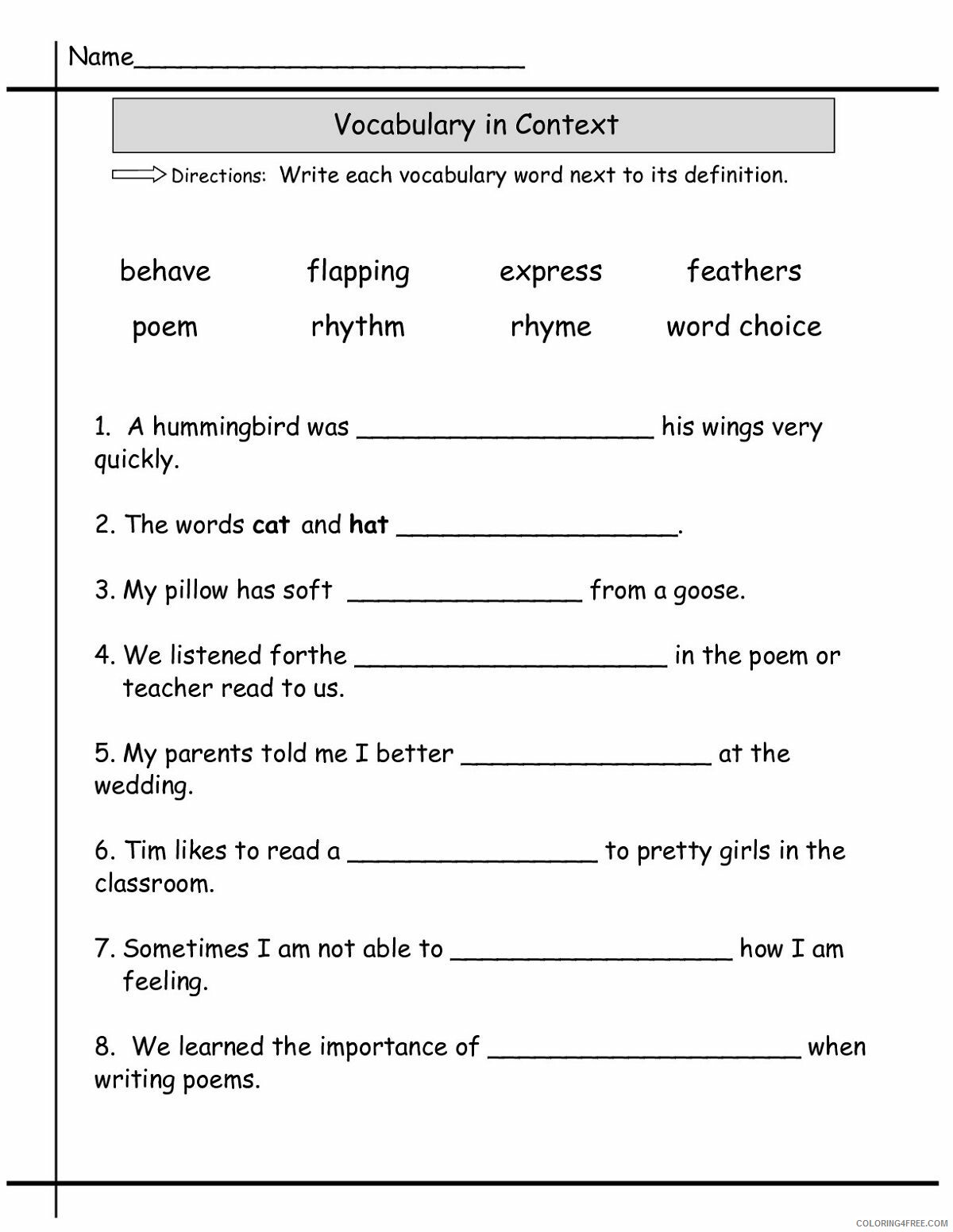 hight resolution of 2nd Grade Coloring Pages Educational English Worksheets Vocabulary 2020  0129 Coloring4free - Coloring4Free.com