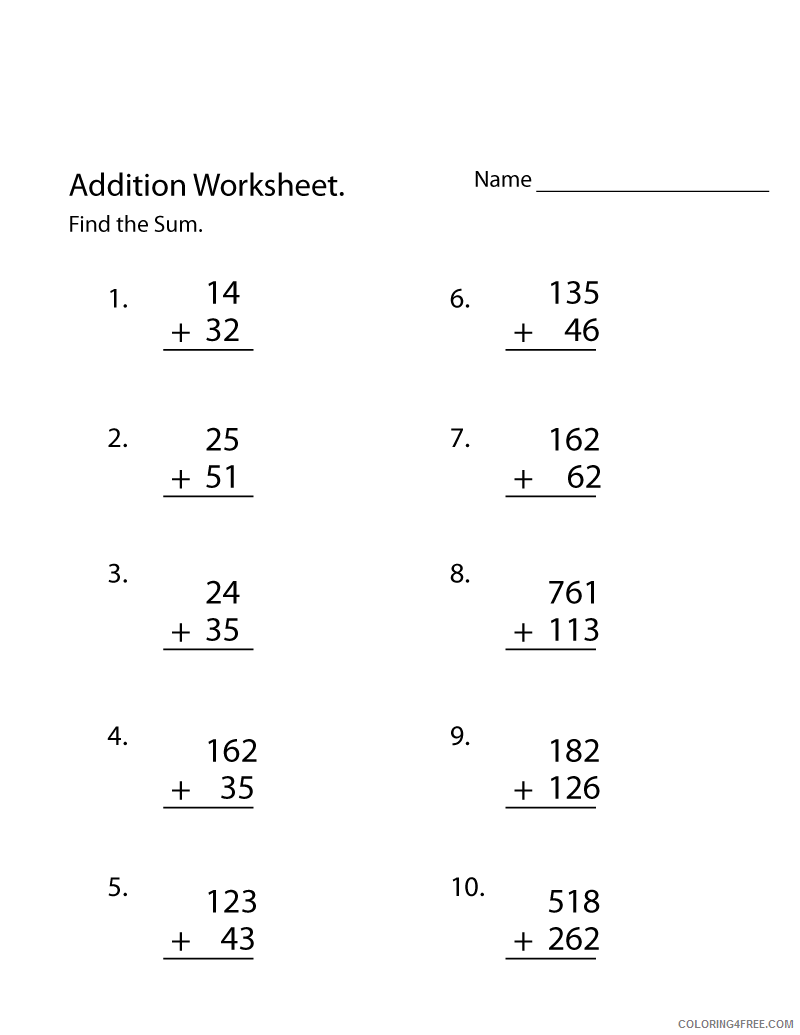 hight resolution of 3rd Grade Coloring Pages Educational Addition Worksheet Printable 2020 0249  Coloring4free - Coloring4Free.com