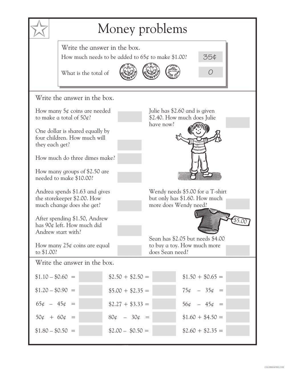 medium resolution of 3rd Grade Coloring Pages Educational Math Word Problems Money Print 2020  0261 Coloring4free - Coloring4Free.com