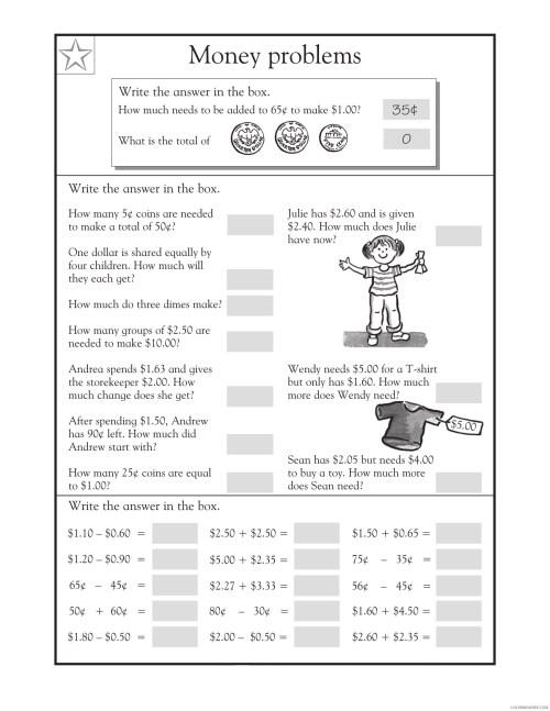small resolution of 3rd Grade Coloring Pages Educational Math Word Problems Money Print 2020  0261 Coloring4free - Coloring4Free.com